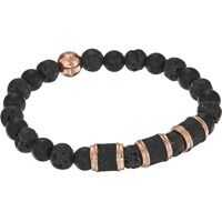 Bratari Stainless Steel Lava Stone Stretch Bracelet Barbati