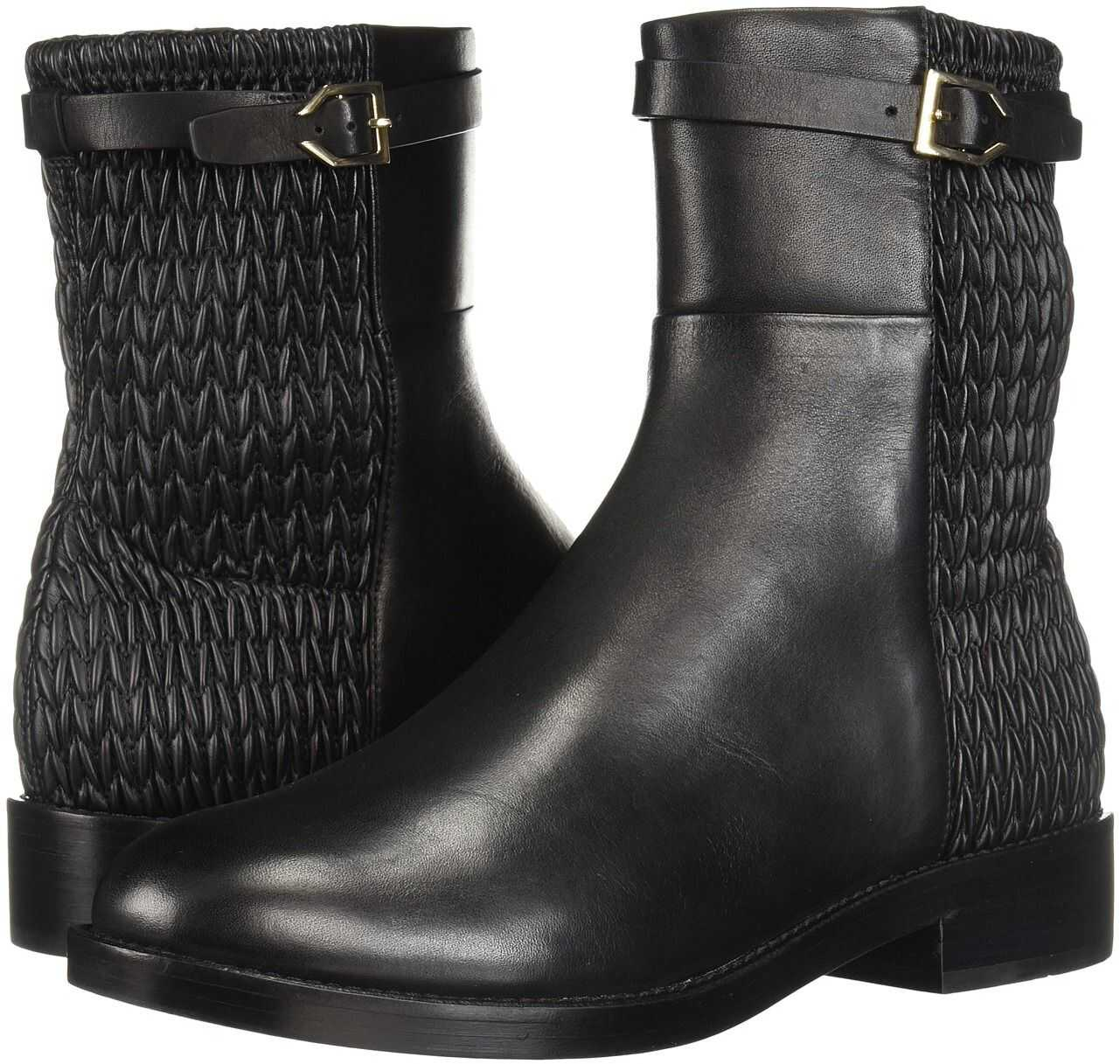 Cole Haan Lexi Grand Stretch Strap Bootie Black Leather/Weave Stretch Leather