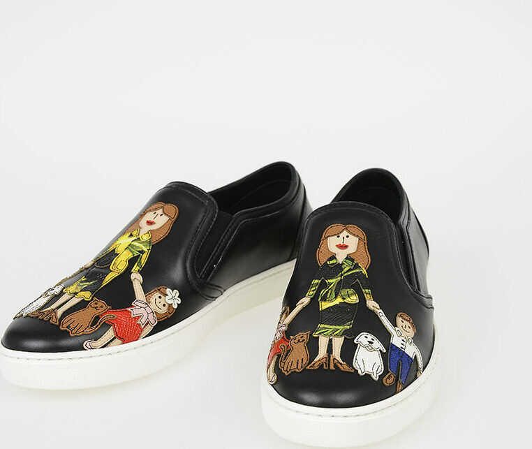 Dolce & Gabbana Leather LONDON Slip Ons with FAMILY Patch N/A