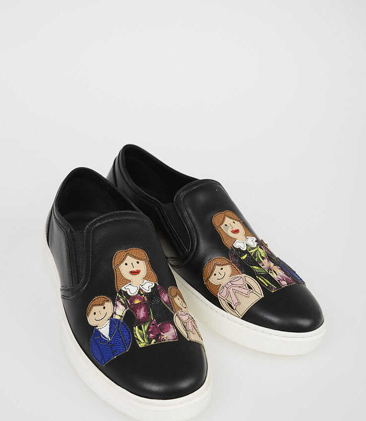 Dolce & Gabbana Leather LONDON Slip Ons with FAMILY Patch BLACK