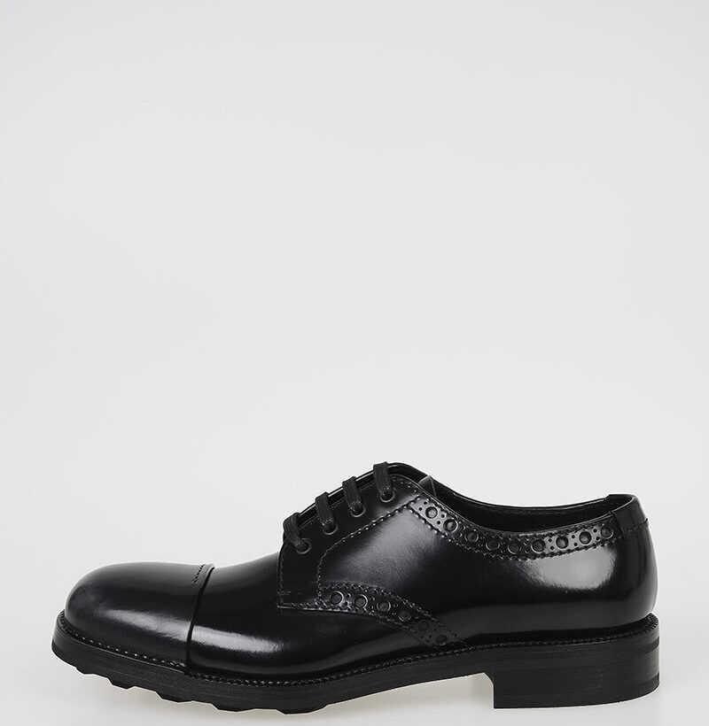 Prada Brushed Leather Derby Shoes BLACK