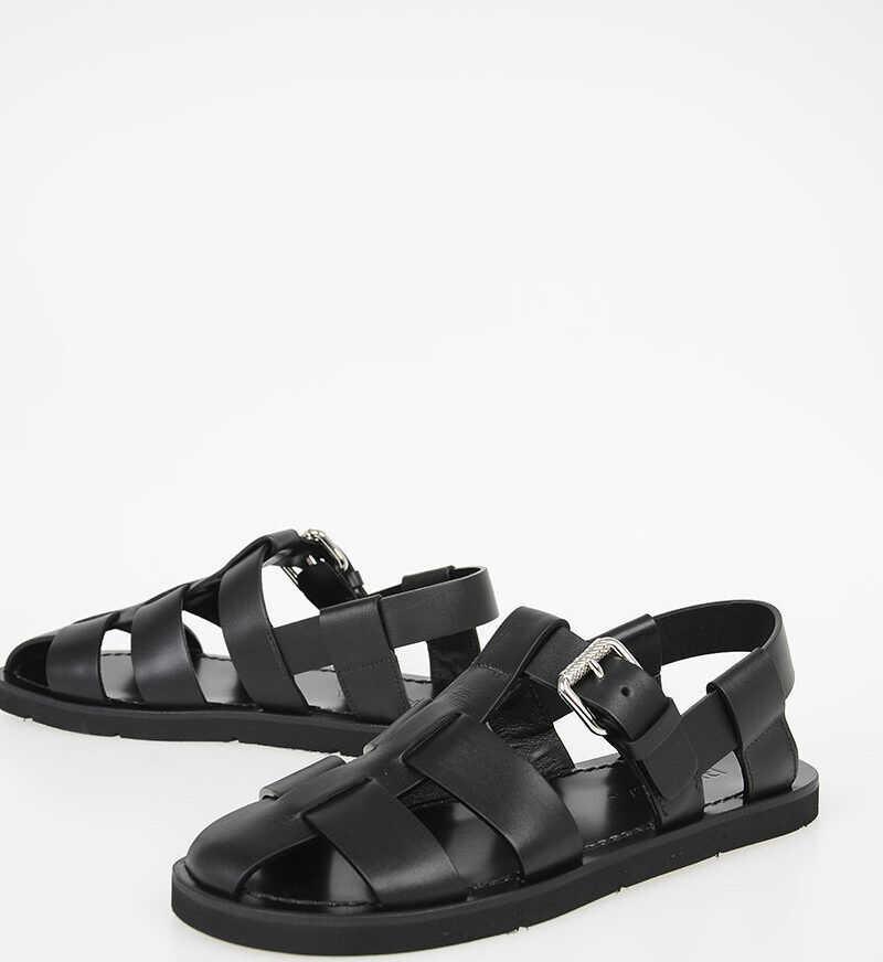 Prada Leather Sandals BLACK