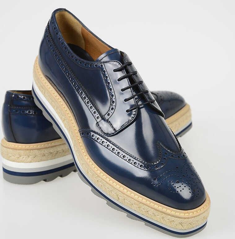 Prada Leather Derby Shoes with Platform BLUE