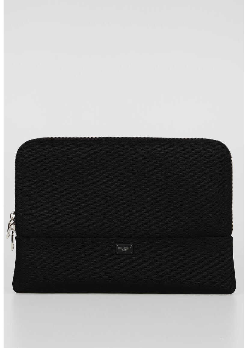 Dolce & Gabbana Fabric Business Bag BLACK imagine b-mall.ro