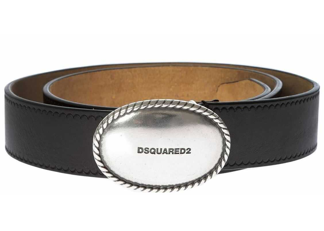 Black Leather Belt With Oval Buckle