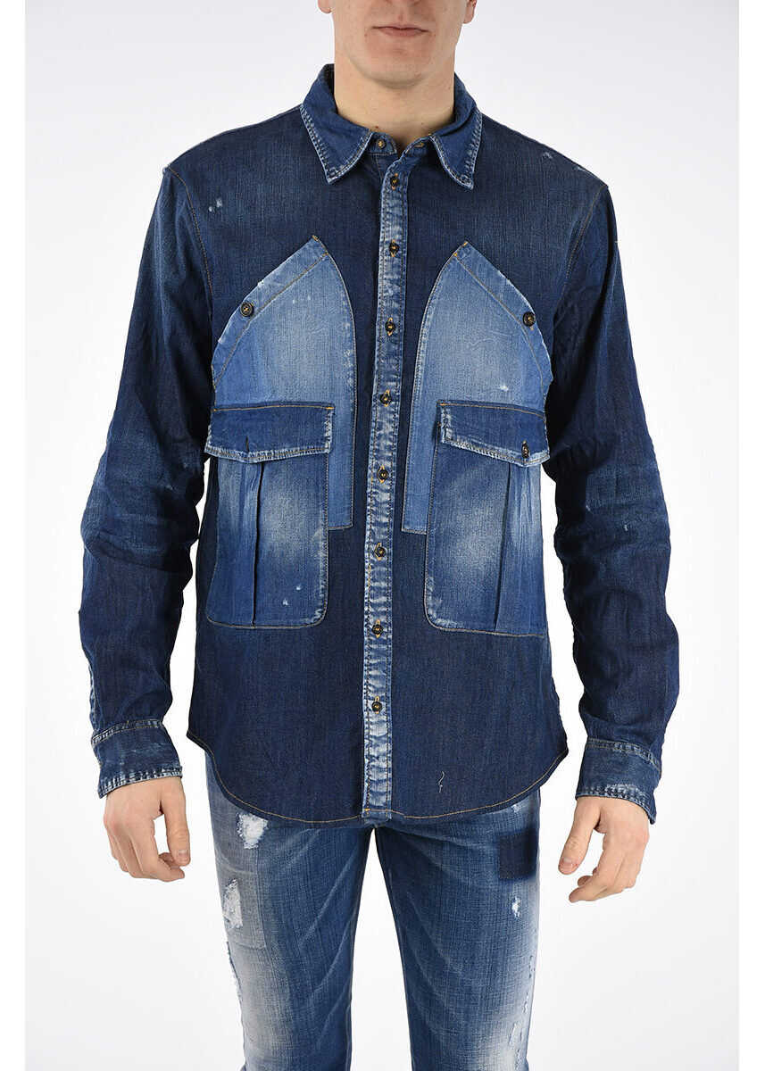 DSQUARED2 Stretch Cotton Denim Shirt BLUE