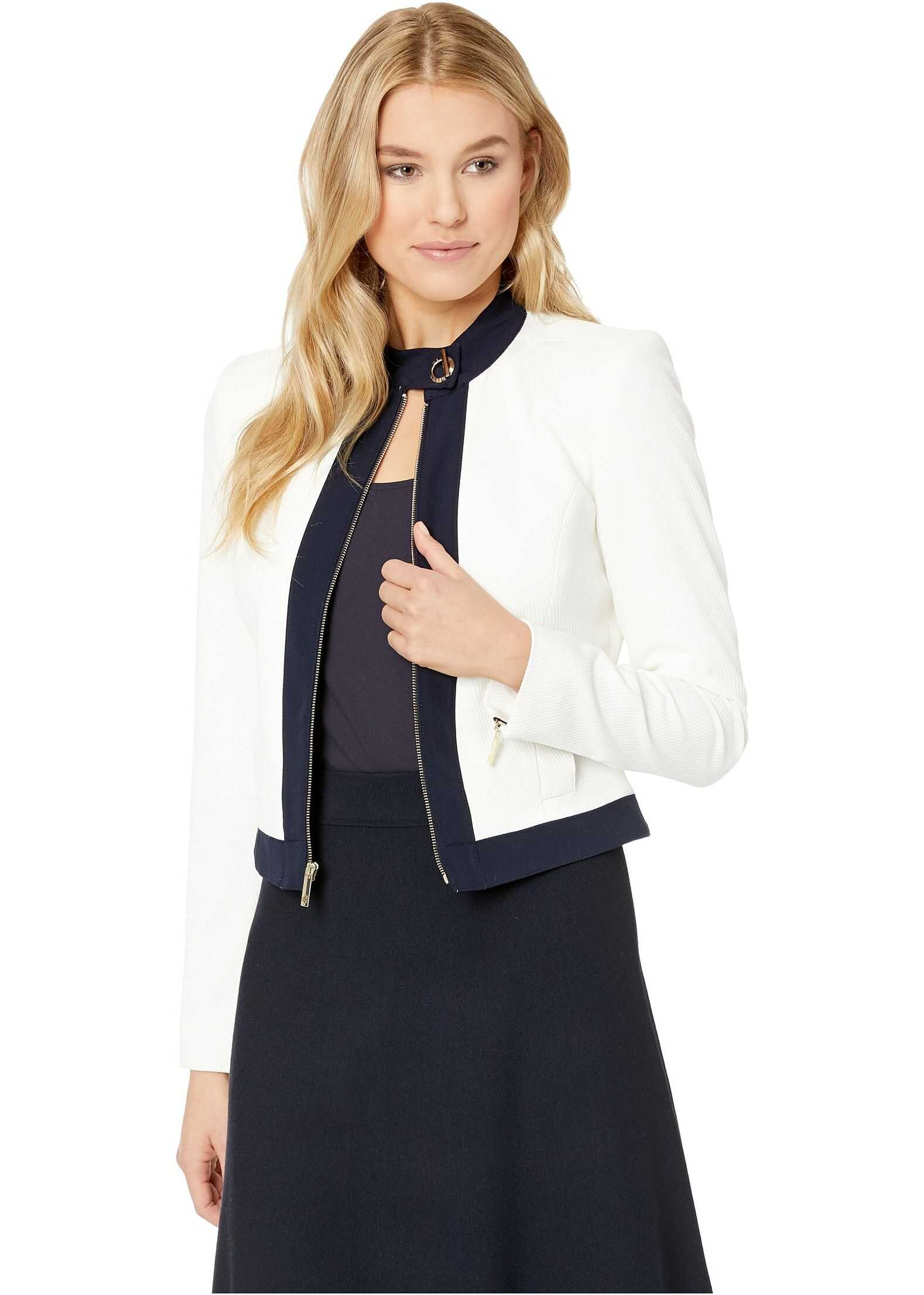 Tommy Hilfiger Piped Textured Jacket Ivory/Midnight