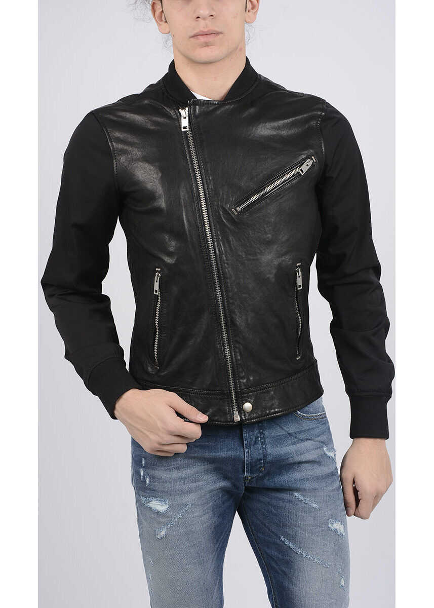 Diesel Leather L-TOMBSTONE Bomber Jacket BLACK imagine