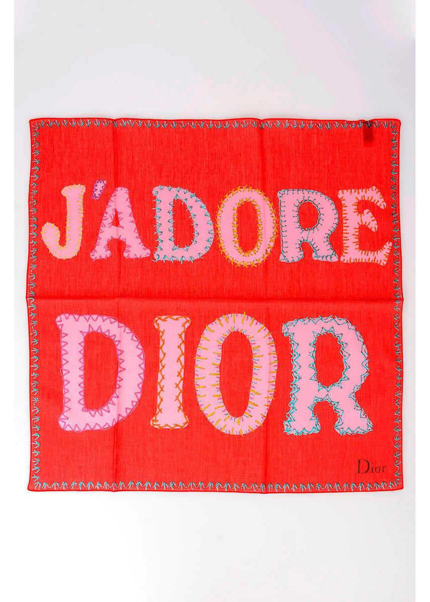 Dior 55x55cm Cotton Pochette Foulard RED