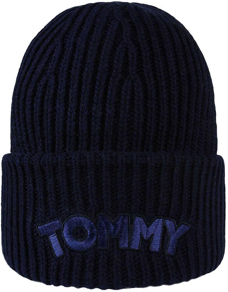 Tommy Hilfiger Logo Patch Beanie Granatowy