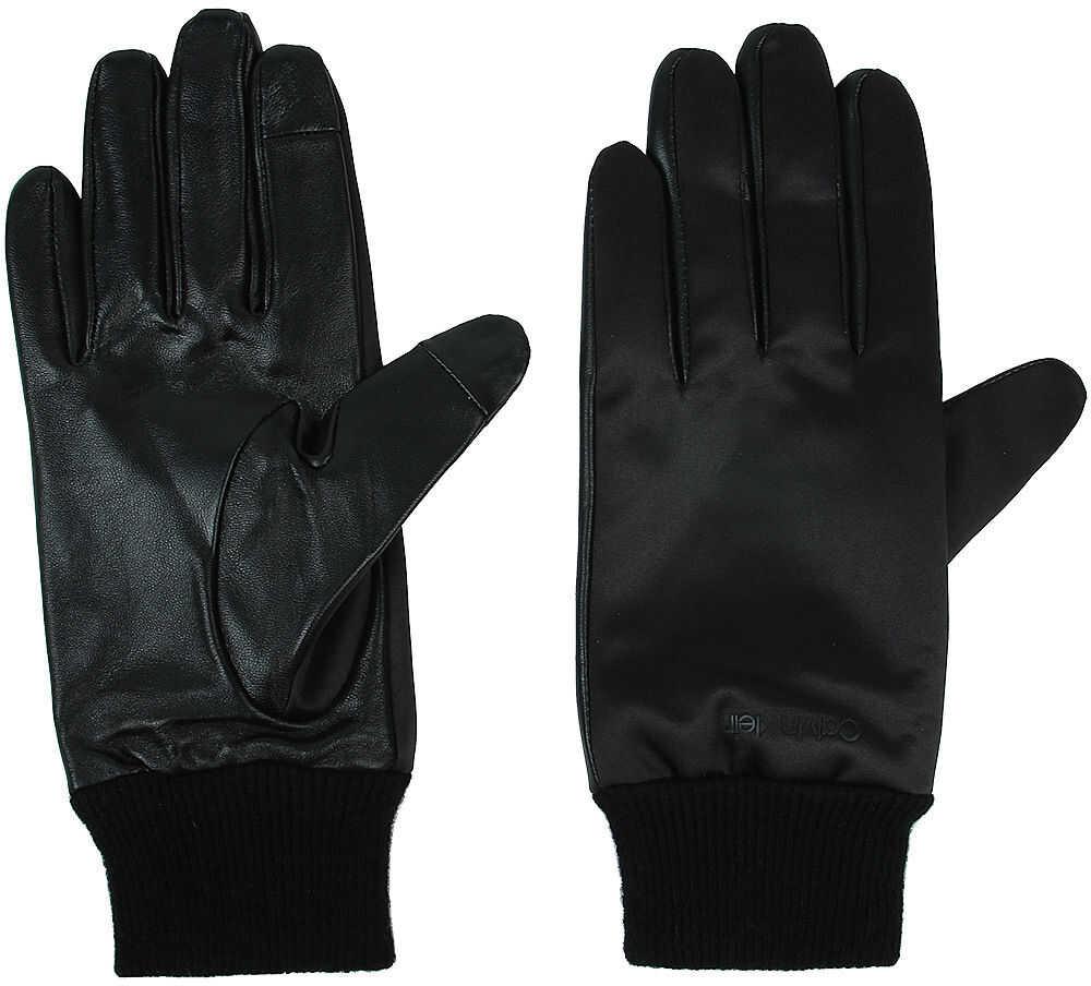 Calvin Klein Satin & Leather Glov - Rękawiczki Czarny