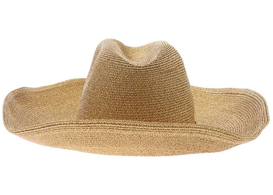 Blugirl Hat In Golden Lamé With Wide Brim Gold