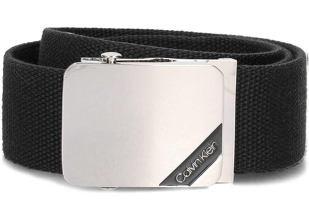 Calvin Klein 4cm Adj. Webbing Plaque Belt Czarny