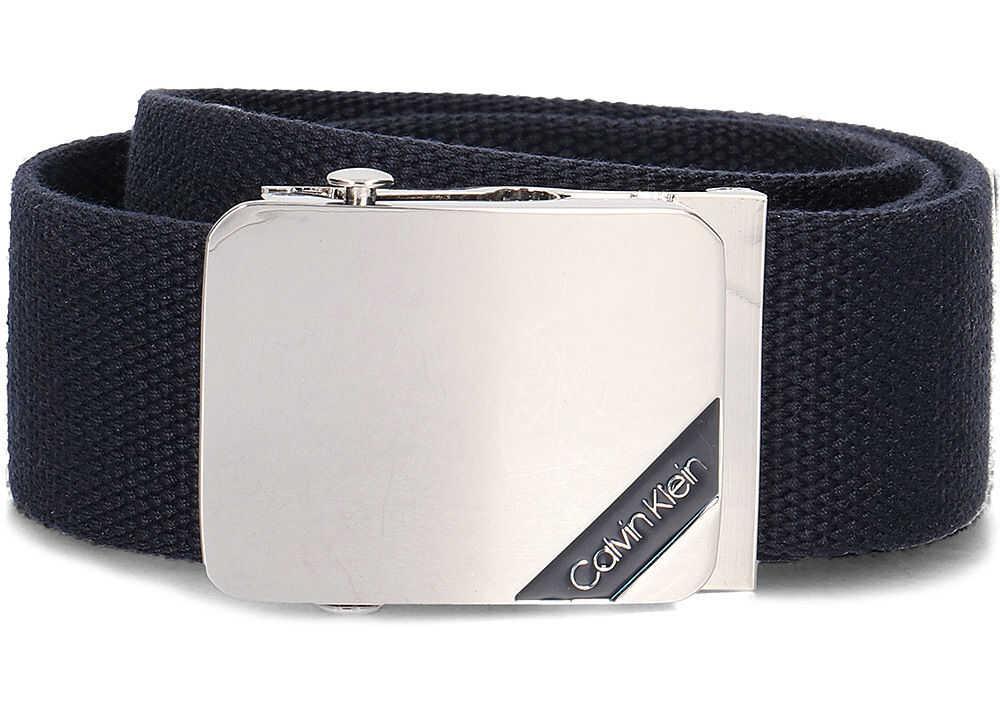 Calvin Klein 4cm Adj. Webbing Plaque Belt Granatowy