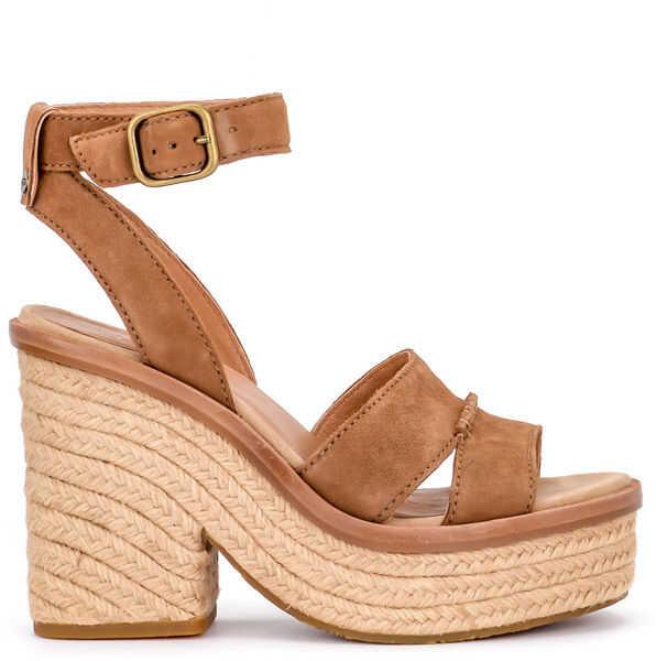 Sandale Dama UGG Sandalo Con Tacco Ugg Carine In Pelle Scamosciata Cuoio