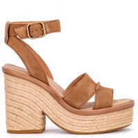 Sandale Sandalo Con Tacco Ugg Carine In Pelle Scamosciata Cuoio Femei