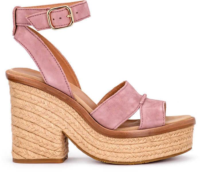 Sandale Dama UGG Sandalo Con Tacco Ugg Carine In Pelle Scamosciata Rosa