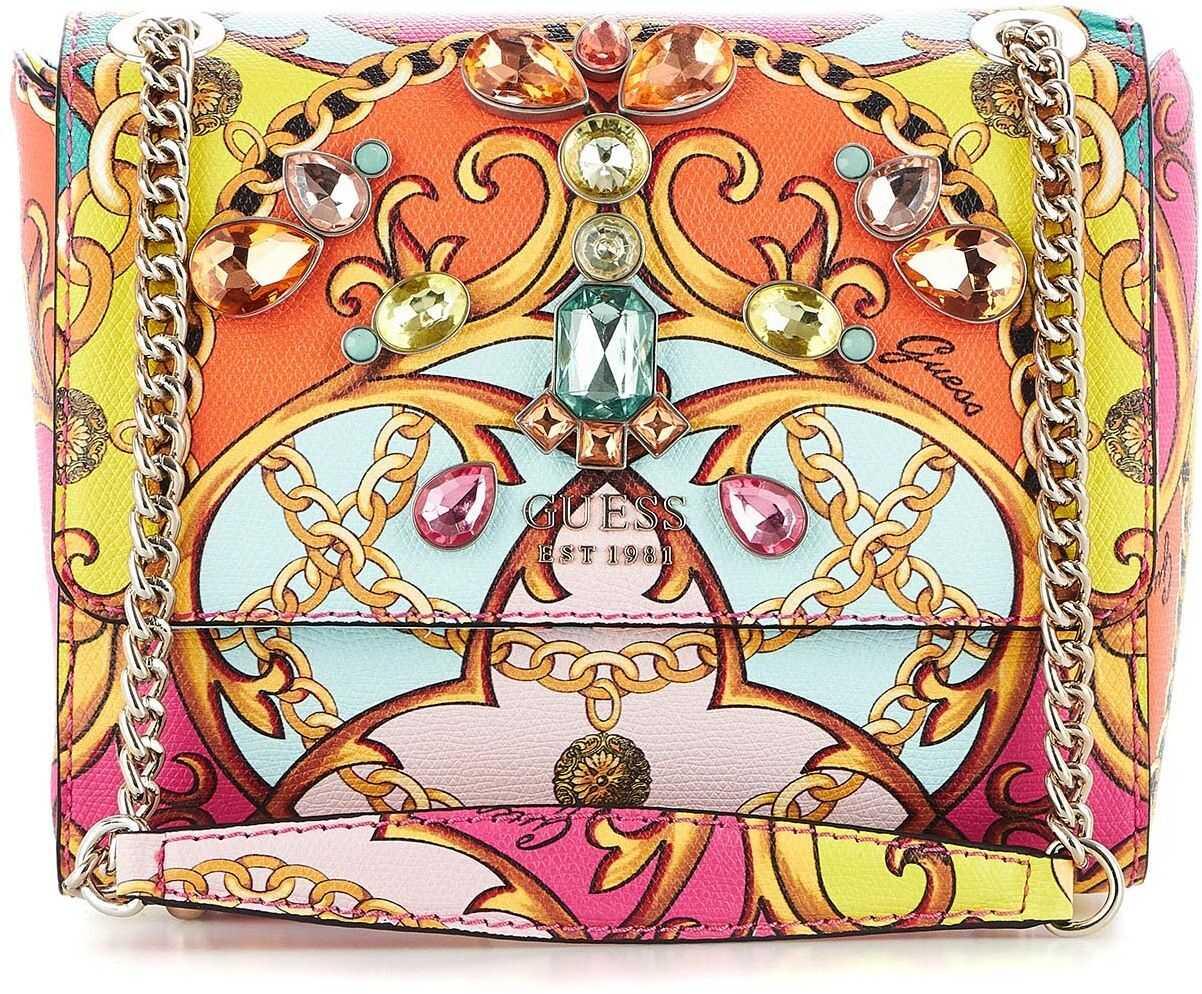 GUESS Printed crossbody bag pink