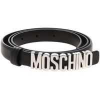 Curele Black Belt With Silver Moschino Logo Femei