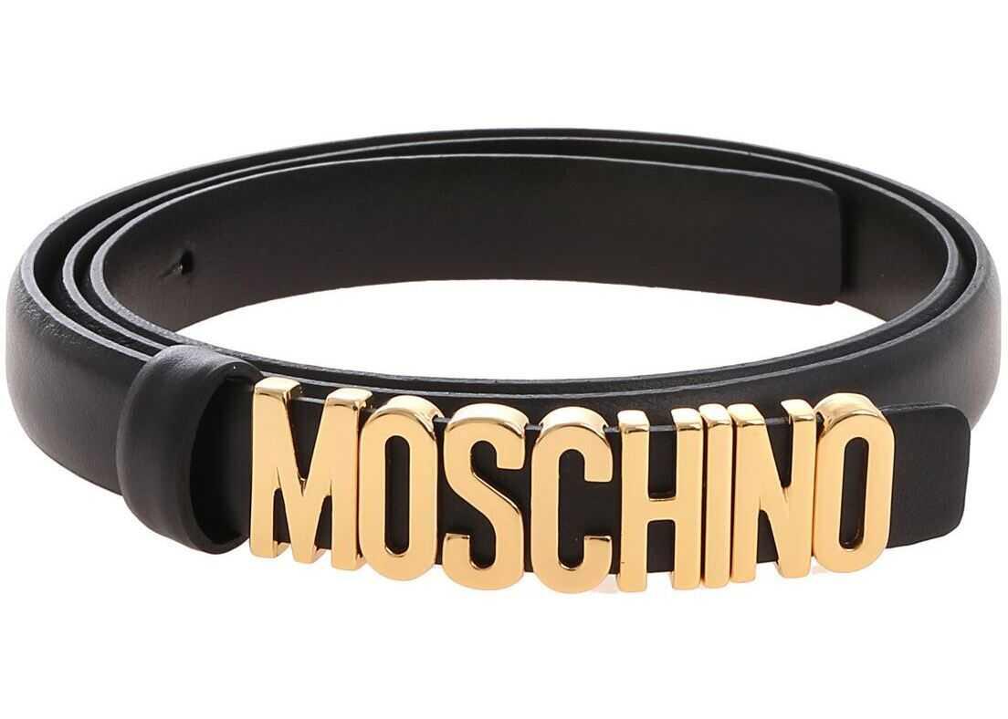 Moschino Black Belt With Golden Moschino Logo Black