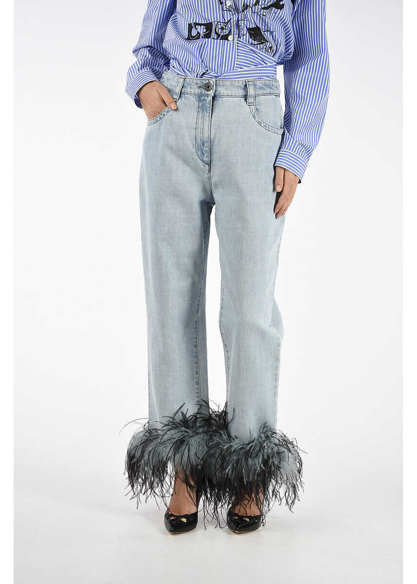 Prada 18cm Jeans with turkey and ostrich Feathers N/A