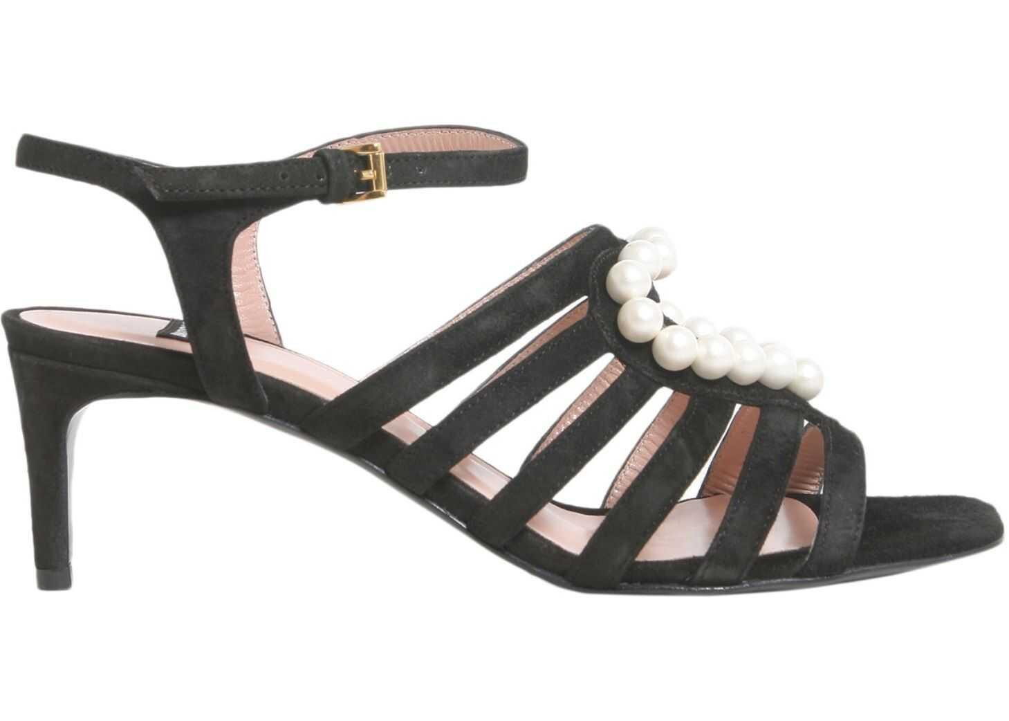 LOVE Moschino Suede Sandals BLACK