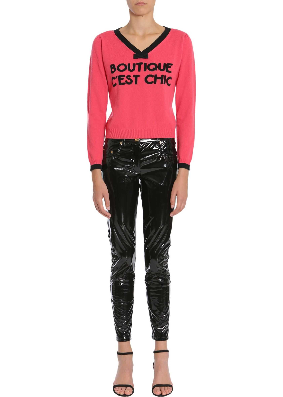 LOVE Moschino V Collar Sweater PINK