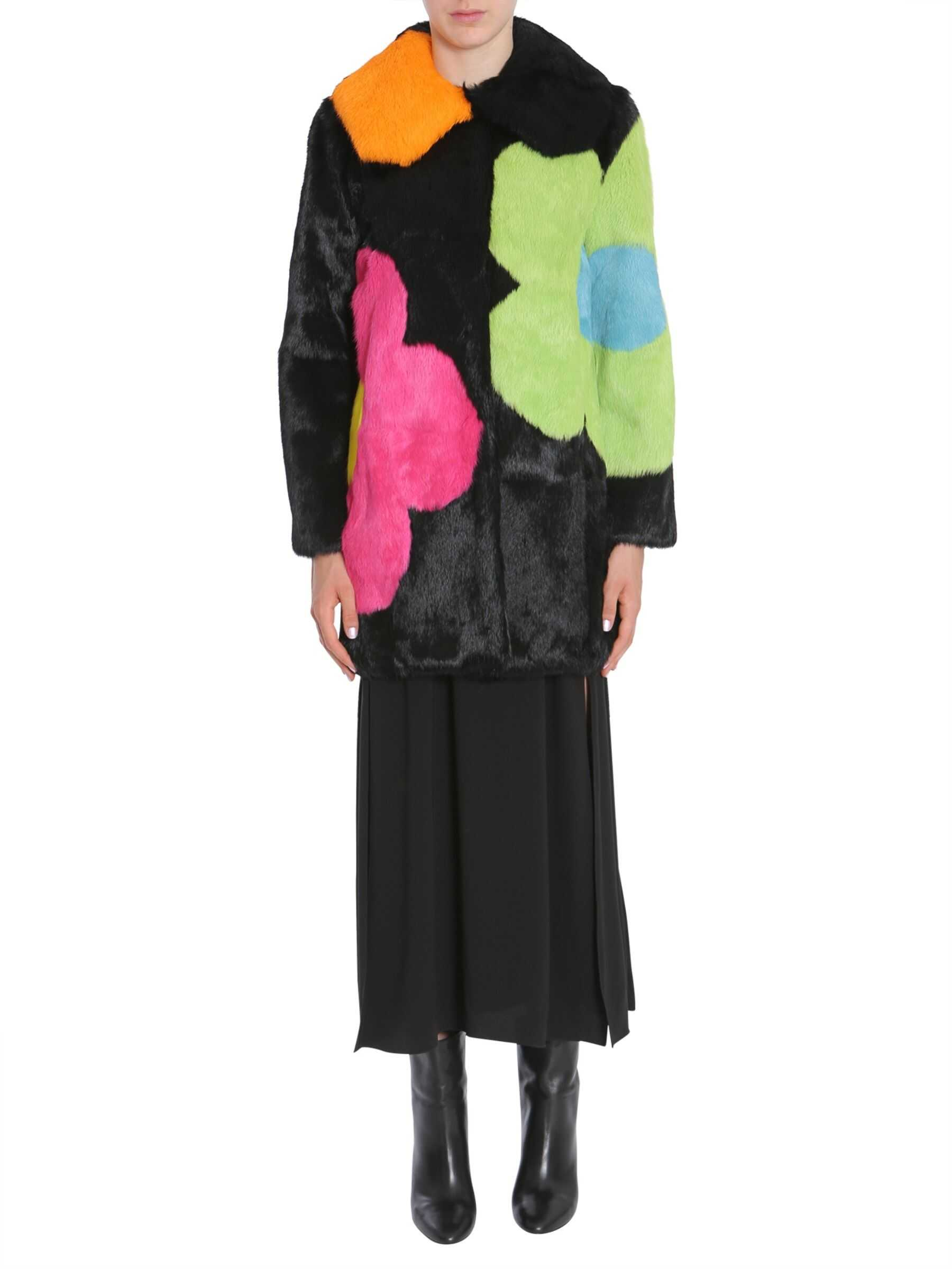 Boutique Moschino Long Fur Coat MULTICOLOUR
