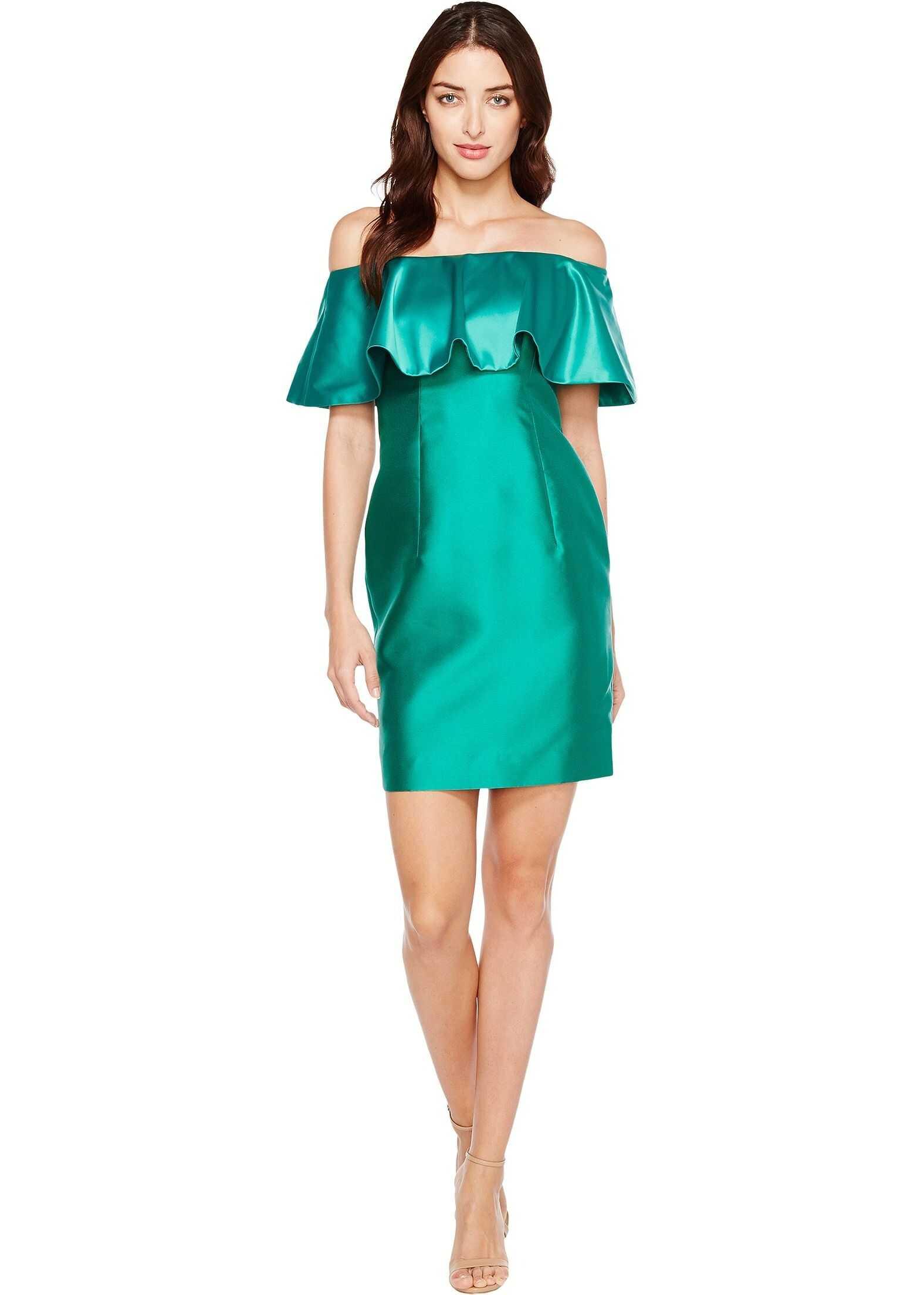 Adrianna Papell Fabric Combo Flounce Dress Vivid Emerald