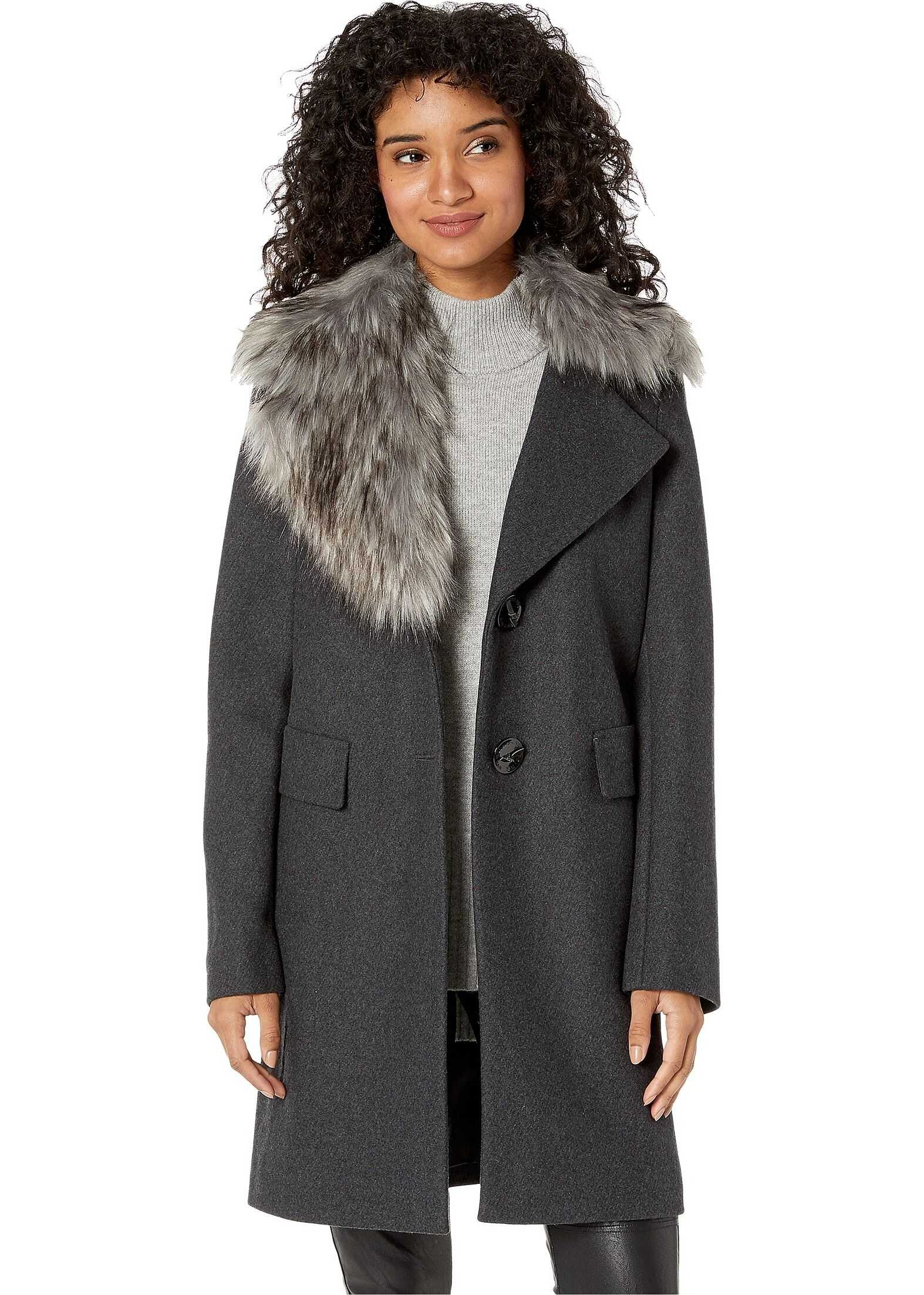 Asymmetrical Faux Fur Walker Coat