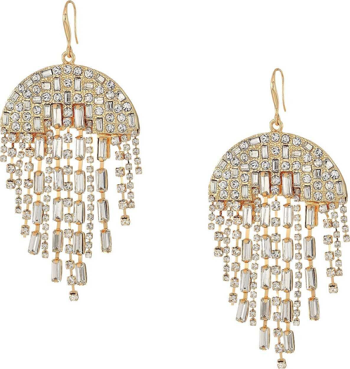 Steve Madden Semi-Circle Rhinestone Chandelier Earrings Gold