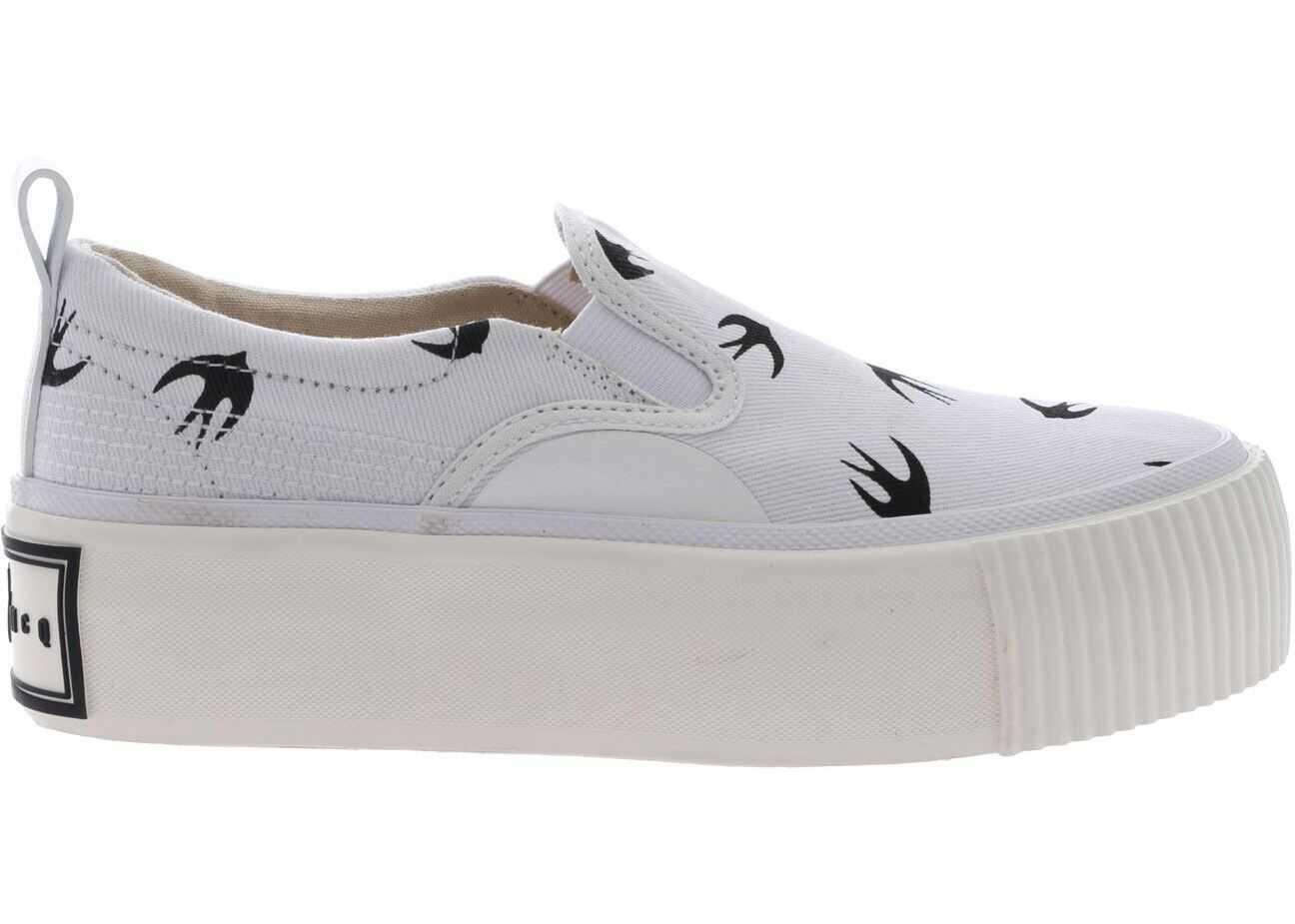 MCQ Alexander McQueen White Plimsoll Slip On 545107 R2570 9024 White imagine b-mall.ro