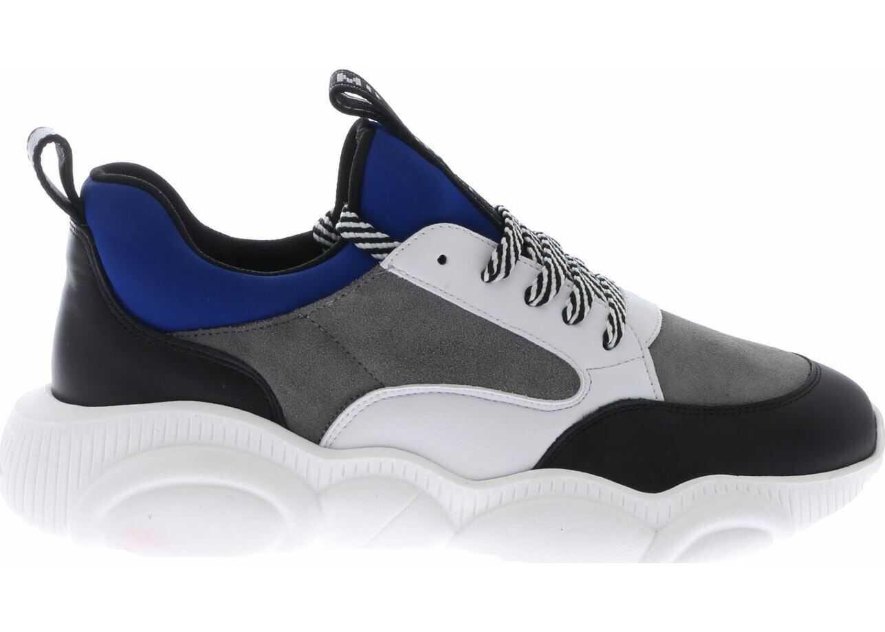 Moschino Blue And Black Teddy Run Sneakers Multi
