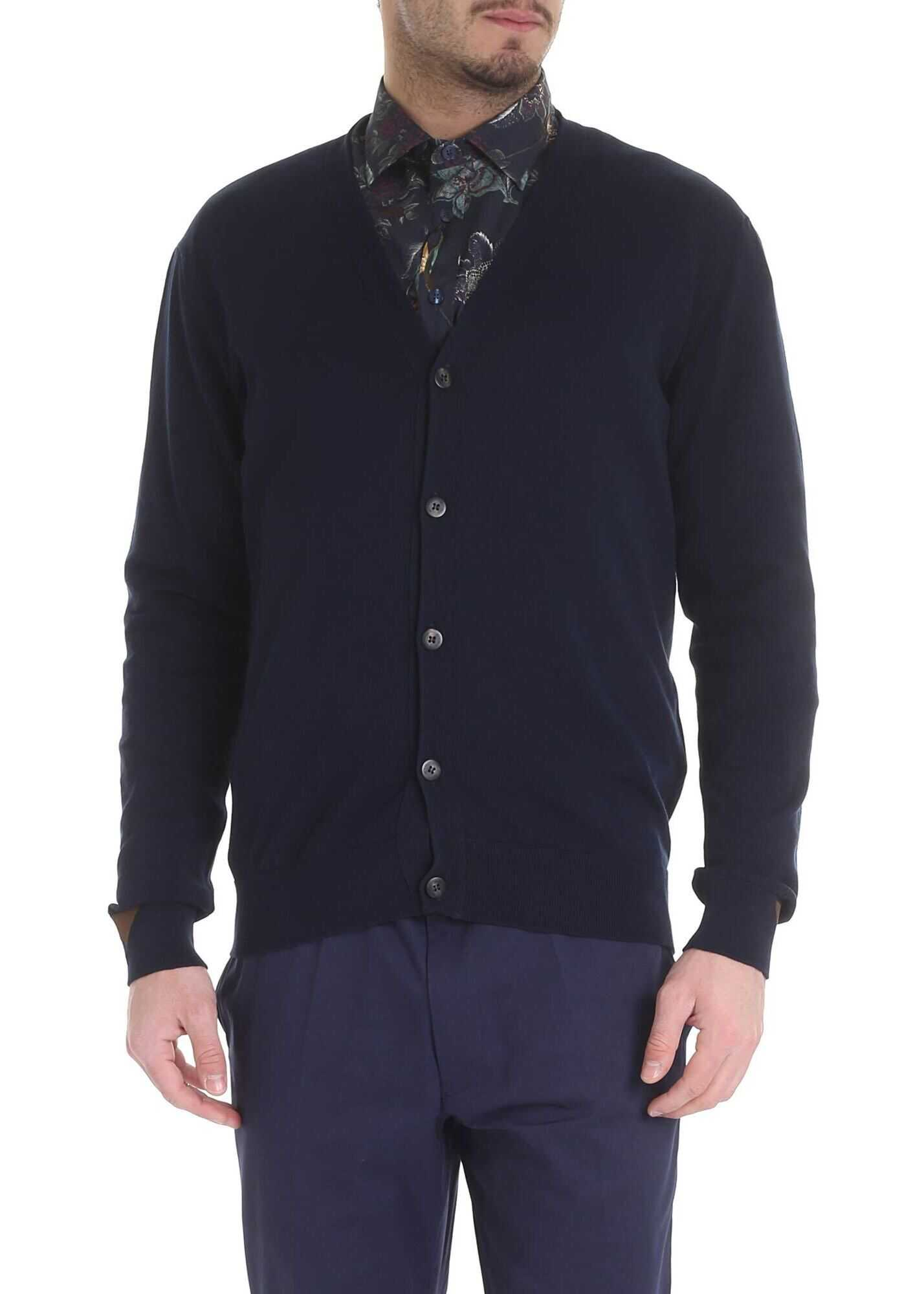 ETRO Blue Cardigan With Etro Buttons Blue