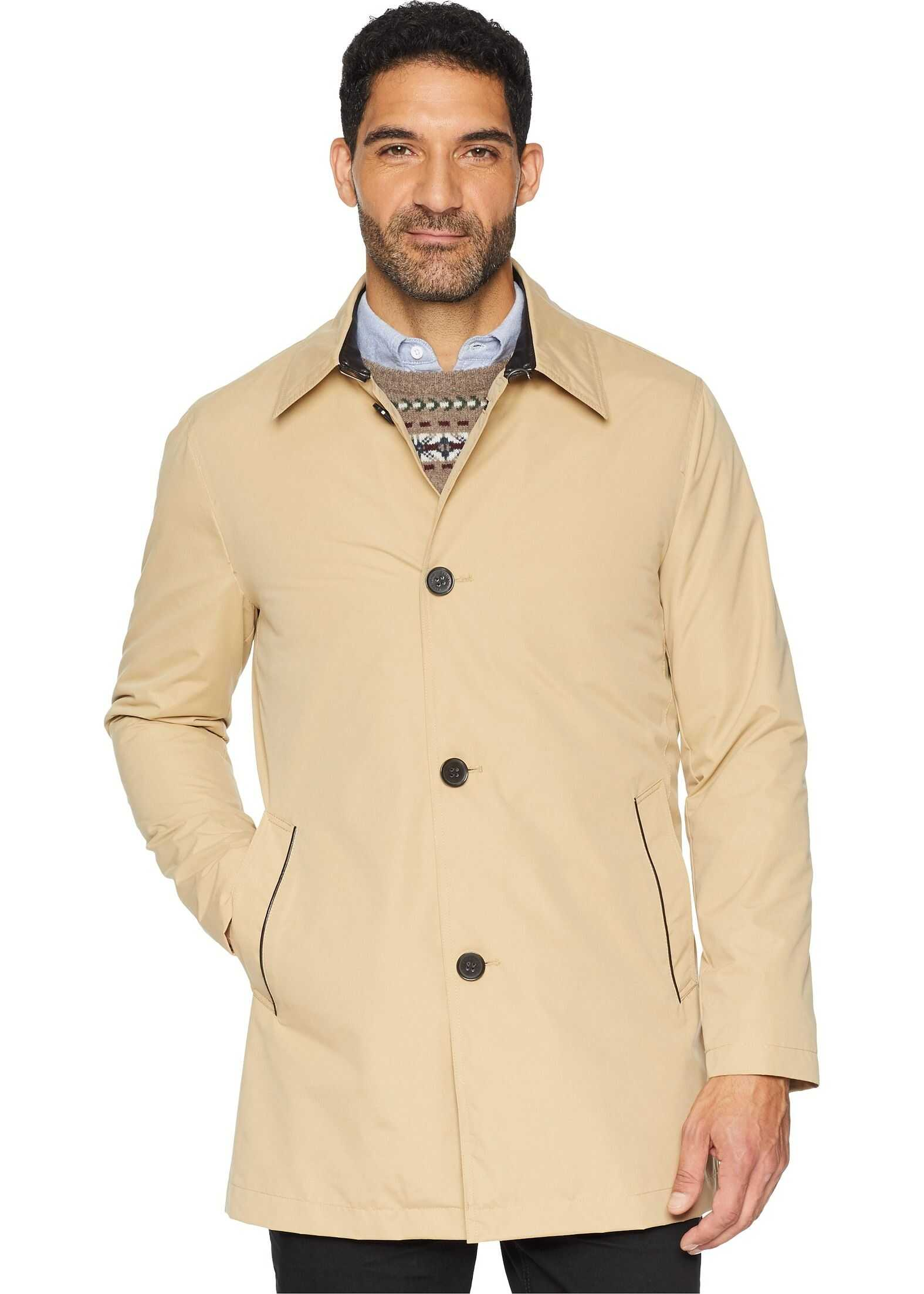 Cole Haan City Rain Button Front Carcoat with Detachable Liner Tan