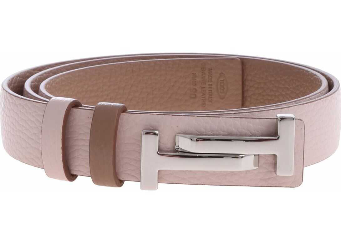 TOD'S Pink Reversible Belt With Double T Logo Pink