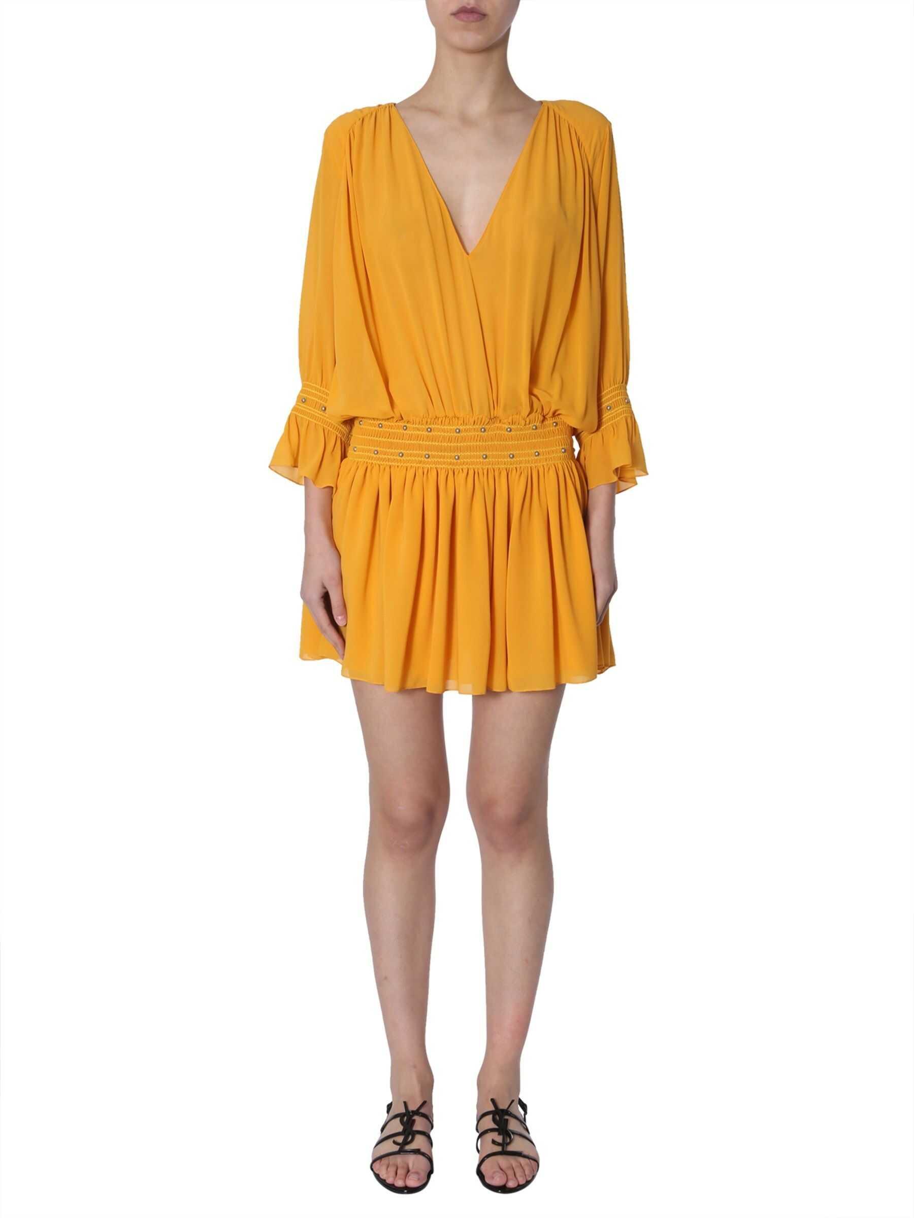 Saint Laurent Short Silk Dress YELLOW