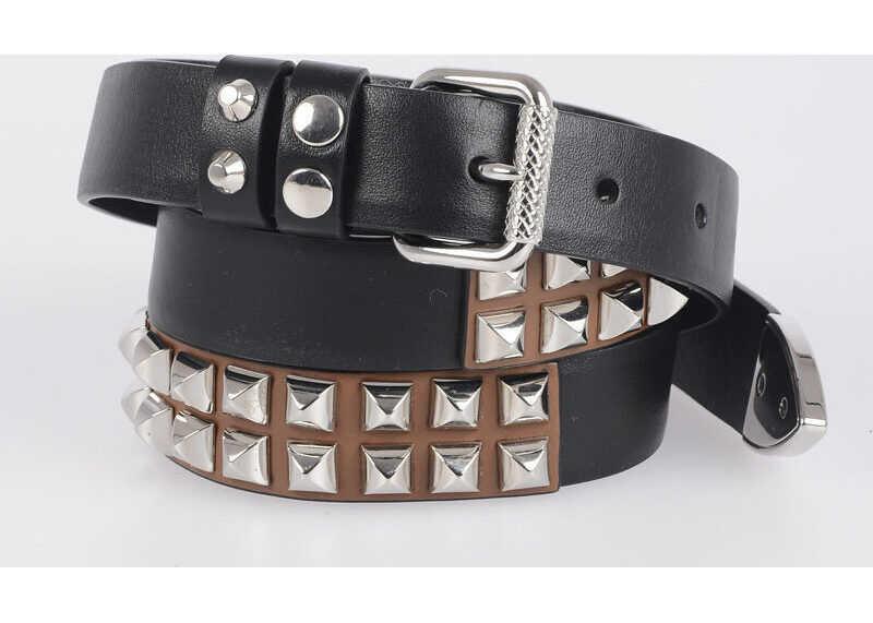 Prada 25mm Leather Belt with Stud BLACK