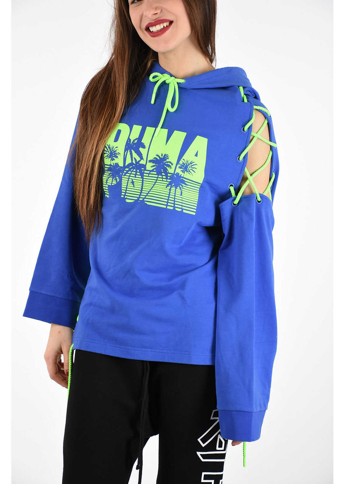 PUMA Hooded Printed Sweatshirt BLUE