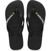 Slapi Brasil Logo Unisex Flip Flops In Black Black Barbati