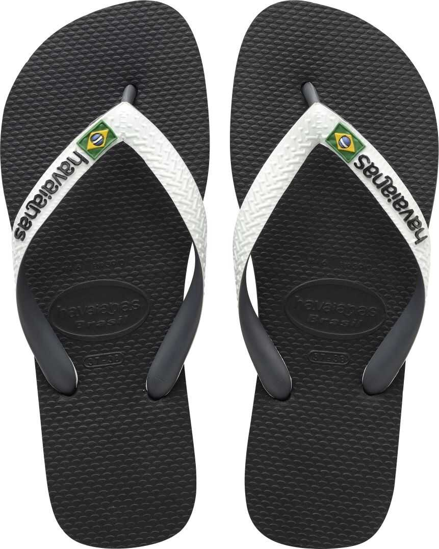 Havaianas Brasil Mix Unisex Flip Flops In Black White Black