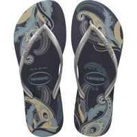 Slapi Slim Organic Flip Flops In Navy Silver Femei