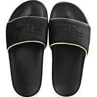 Slapi Drifter Border Velour Slide In Black Gold Femei
