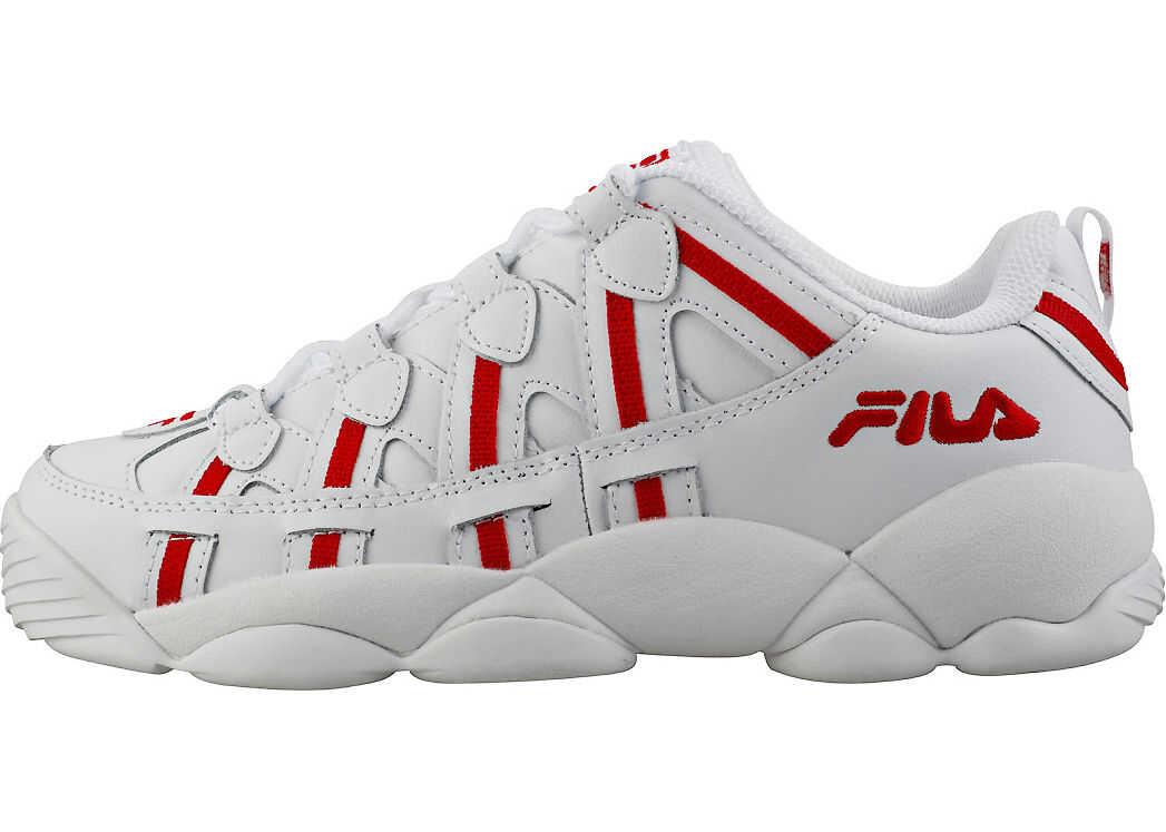 Fila Spaghetti Low Trainers In White Red White