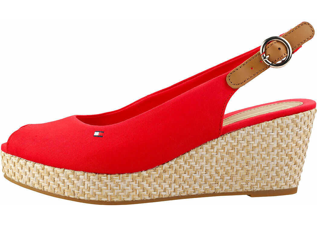 Tommy Hilfiger Iconic Elba Basic Sling Back Wedges In Red Red