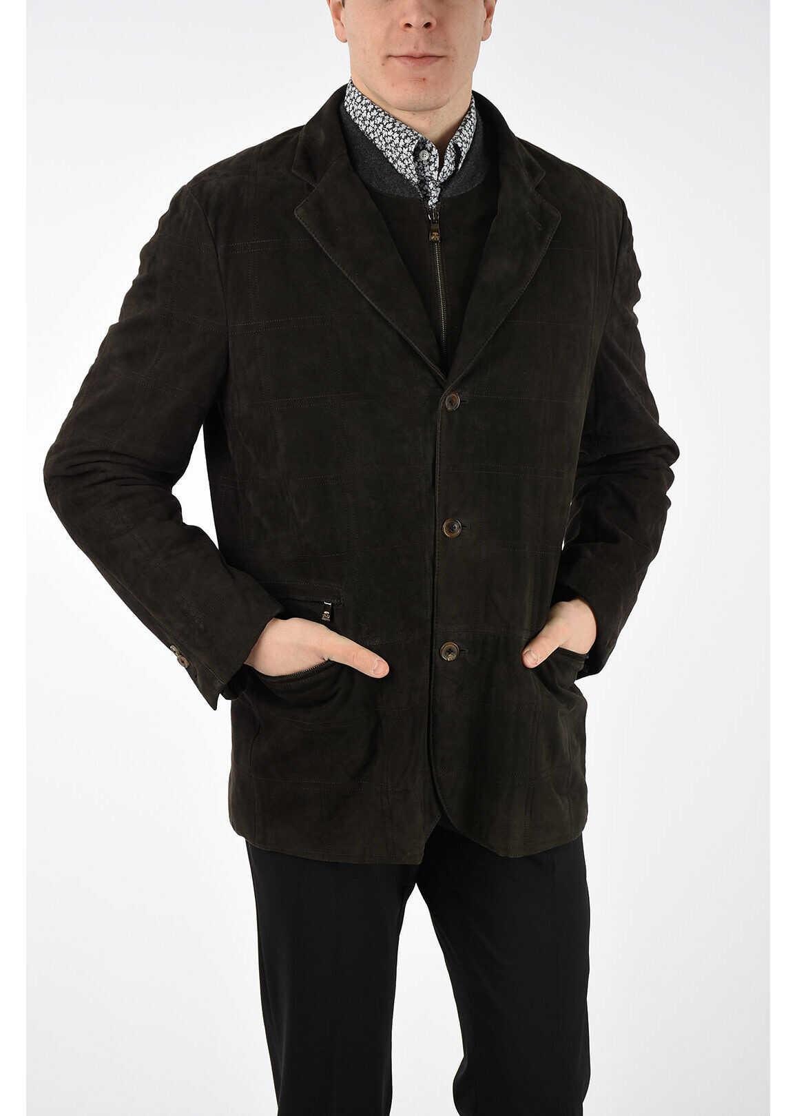 CORNELIANI ID Leather Coat BROWN