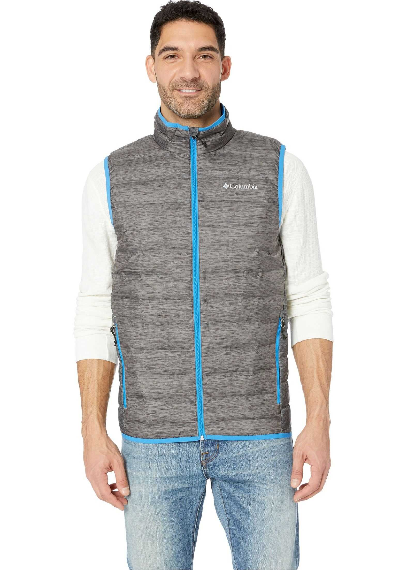 Columbia Lake 22 Down Vest Charcoal Heather Print/Azure Blue