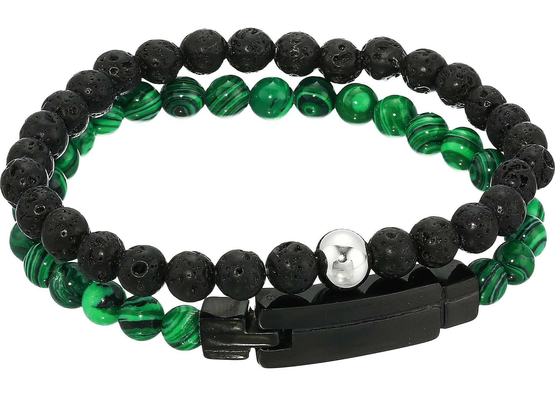 Steve Madden Beaded Duo Bracelet Set in Stainless Steel Green/Black