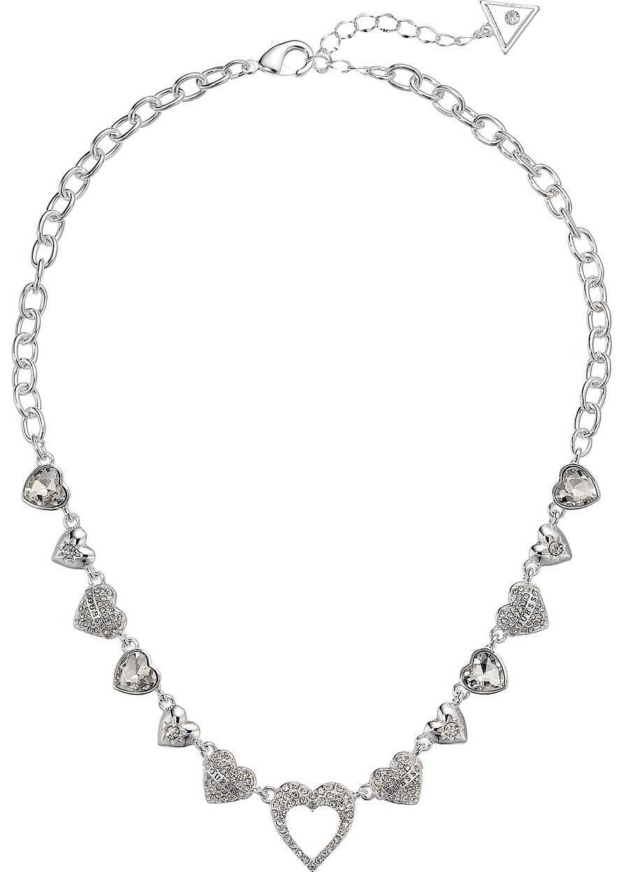 GUESS Repeating Hearts Link Necklace with Crystal Pave Silver