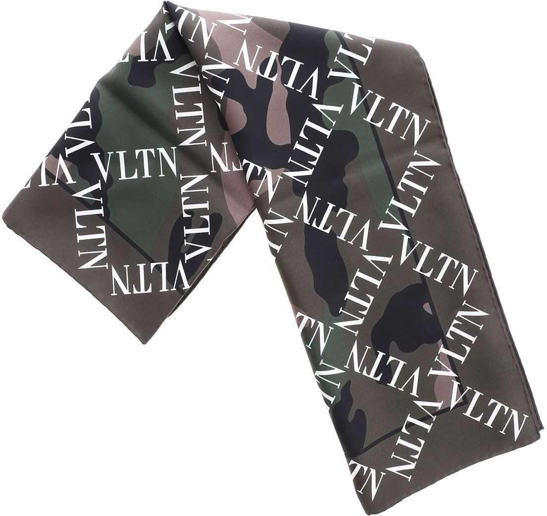 Valentino Garavani Green Silk Vltn Foulard Green